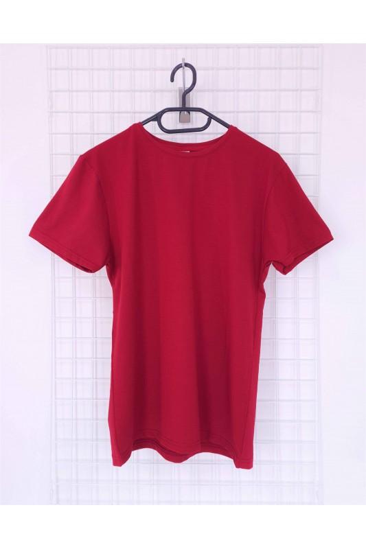 Vyriški vyšnių spalvos medvilniniai marškinėliai be užrašų DMV001
