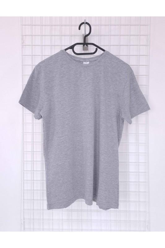 Pilkos spalvos vyriški medvilniniai marškinėliai be užrašų DMV002